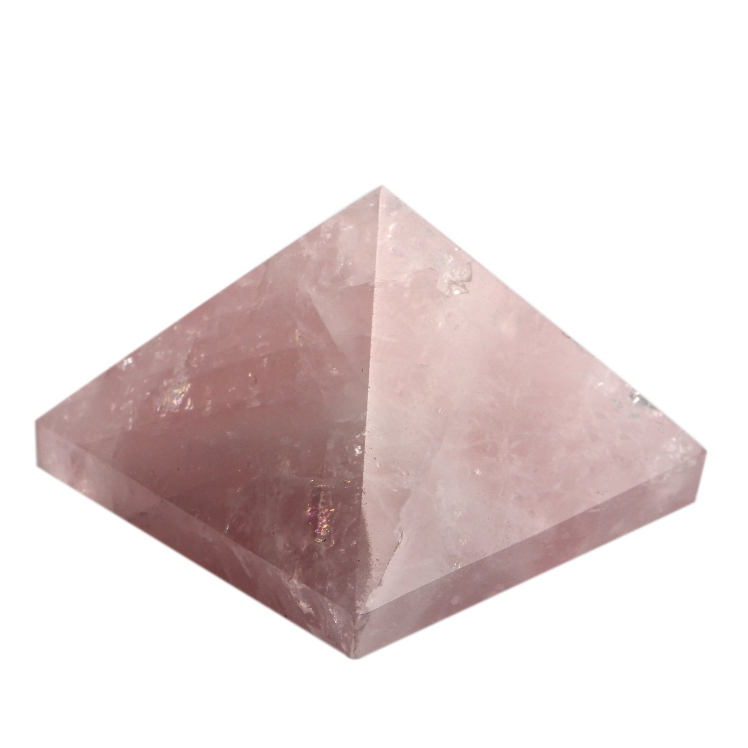 1.5inch Natural Rose quartz Pyramid Carved Chakra Healing Crystal Reiki Stone Top Quality Gemstone Radiation Deflection Home Decor Gift Decoration Crafts (Rose quartz)