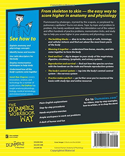 Anatomy and Physiology Workbook For Dummies: Janet Rae-Dupree, Pat ...