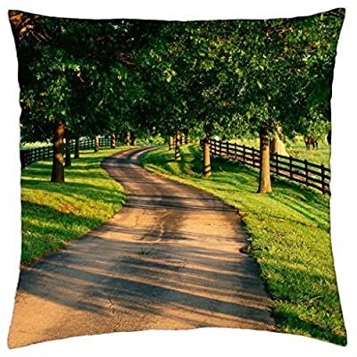Tree Lined Drive on Horse Farm Kentucky - Throw Pillow Cover Case (18