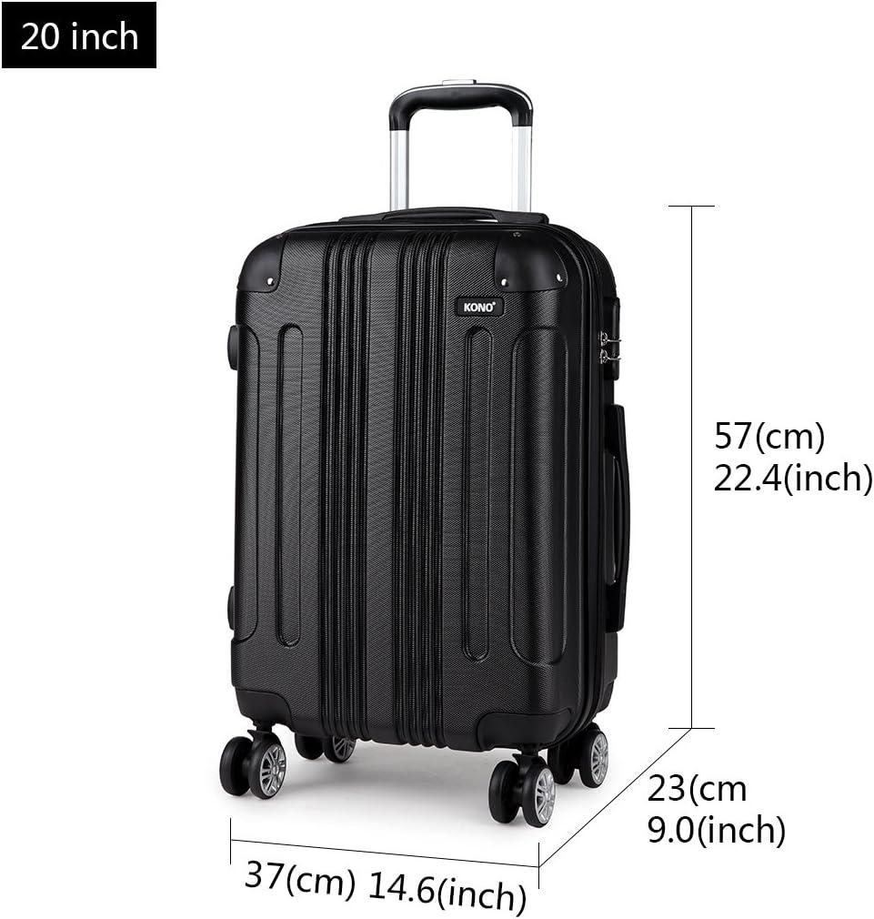 Kono Zwillingsrollen Hartschale ABS Trolley Koffer Reisekoffer Gep/äck M-L-XL-Set,Schwarz