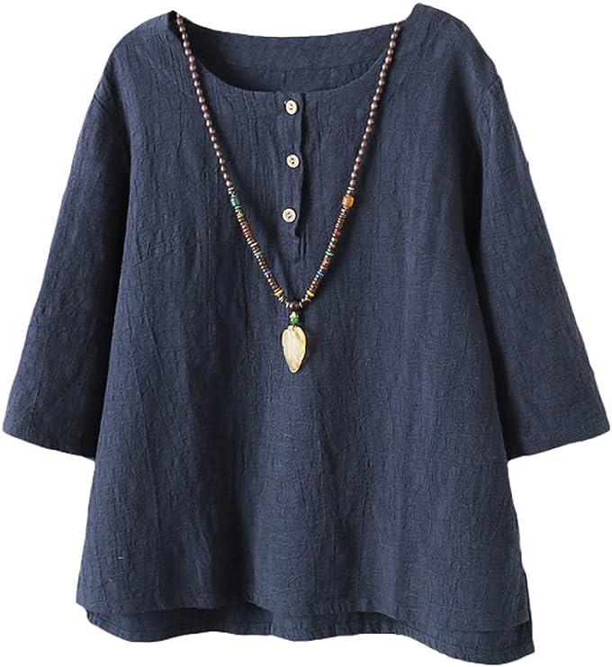 TALLA M. Vogstyle Mujer 2017 Nuevas Túnicas de Lino de Algodón Camiseta Jacquard Tops CY011