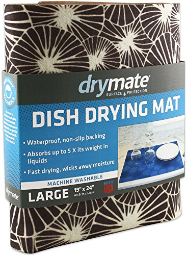 Drymate Dish Drying Mat, Premium XL (19 Inches x 24 Inches) Kitchen Dish Drying Pad - Absorbent/Waterproof - Machine Washable (Made in the USA) (Kahopo Grey) ()