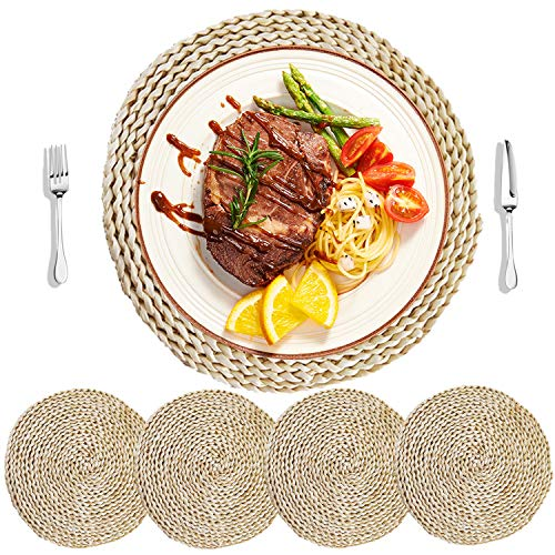 - HomeDo 4Pcs Corn Straw Woven Placemats, Round/Oval Rattan Dining Table Mats, Natural Grass Weave Placemats Handmade, Coaster mat(4, Round Dia11.8''(30cm))