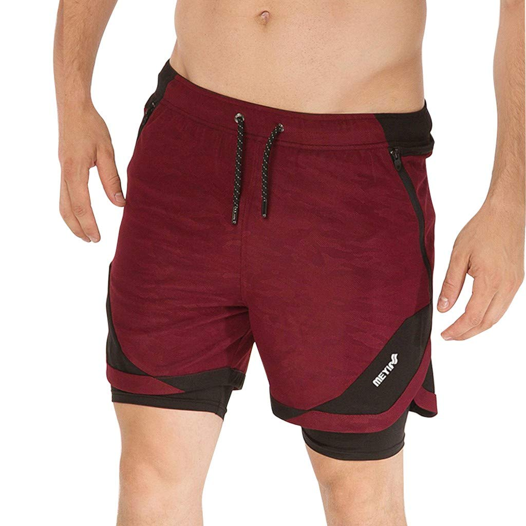 Men's 2 in 1 Running Shorts Summer Gym Workout Training Bodybuilding Jogger Short Pant with Drawstring (L, Red)