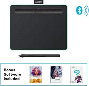 """Wacom Intuos Wireless Graphics Drawing Tablet with 3 Bonus Software Included, 7.9"""" x 6.3"""", Black with Pistachio Accent (CTL4100WLE0) (Renewed)"""