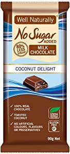 Well Naturally No Sugar Added Coconut Delight Chocolate Bar 90 g