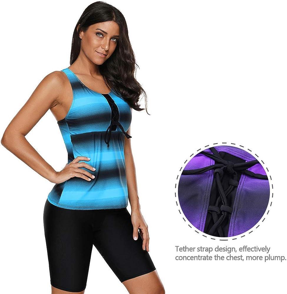 Gradient Stripes Sporty Leisure Breathable Lightweight Padded Beachwear Two-Piece Swimsuits LONMEI Tankinis Swimwear Women