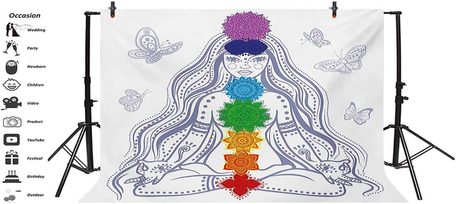 Chakra 10x8 FT Vinyl Photography Background Backdrops,Spiritual Girl in Lotus with Colorful Chakra Stones Meditation Relax Zen Theme Background for Graduation Prom Dance Decor Photo Booth Studio Prop