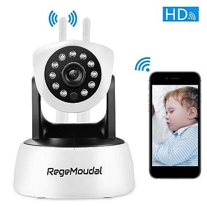 Cámara IP wifi,RegeMoudal 1080P Cámara de Vigilancia Inalámbrico Interiorcon Micrófono y Altavoz,IR