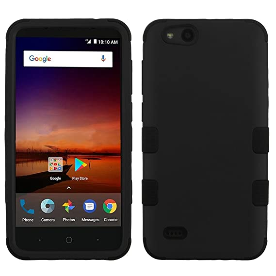 ZTE ZFive C LTE Z558VL Case - TUFF Series [Military Grade Drop Tested -  MIL-STD 810G-516 6] Heavy Duty Shock Resistant Protective Case (Black) and
