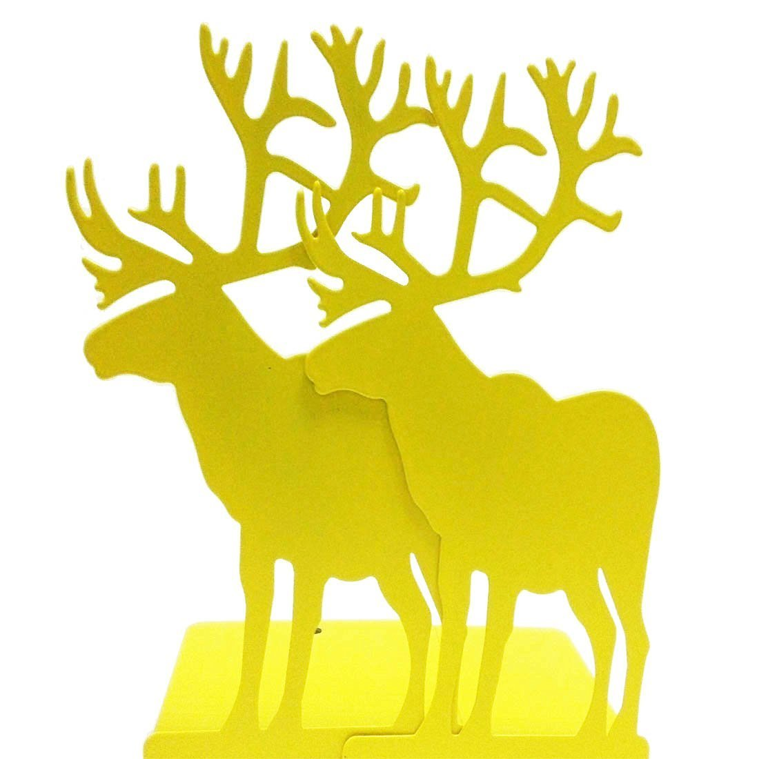 Creative Vintage Iron Metal Heavy Nonskid Yellow Elk Moose Animal Bookends Home Office Workplace Supply Decoration Gift