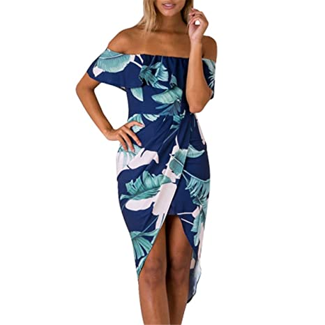 Amazon.com: MUTR off ruffles ombro assimétrico verão dress impressão floral cintura alta beach dress sexy partido vestidos femme: Clothing