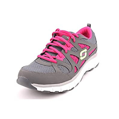 Skechers Womens Free Throw Running Shoe, Charcoal/Hot Pink, US 8