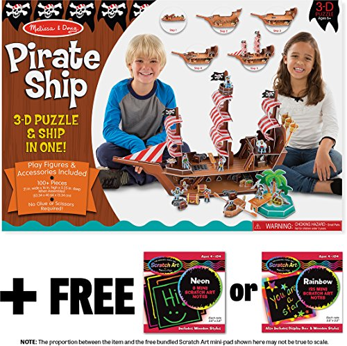 Doug Pirate Chest - Pirate Ship: 3D Puzzle & Playset In One + FREE Melissa & Doug Scratch Art Mini-Pad Bundle [90452]