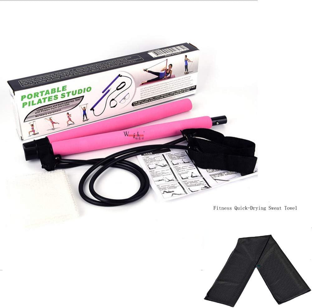 Kit De Barra De Pilates/PortáTil Barra De Ejercicio con Lazo para El Pie/Toalla De Aptitud De Yoga/Ejercicio En El Hogar para Hombre Mujer Anciano,Black Yoga Towel-Pink Pilates Stick
