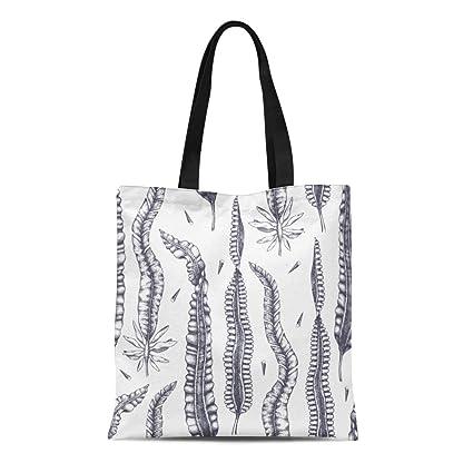 98f0f429e2aa Amazon.com: Semtomn Canvas Tote Bag Ink Laminaria Sketch Sweet Sea ...