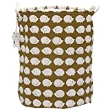 Sea Team 19.7'' x 15.7'' Large Sized Folding Cylindric Waterproof Coating Canvas Fabric Laundry Hamper Storage Basket with Drawstring Cover, Hedgehog