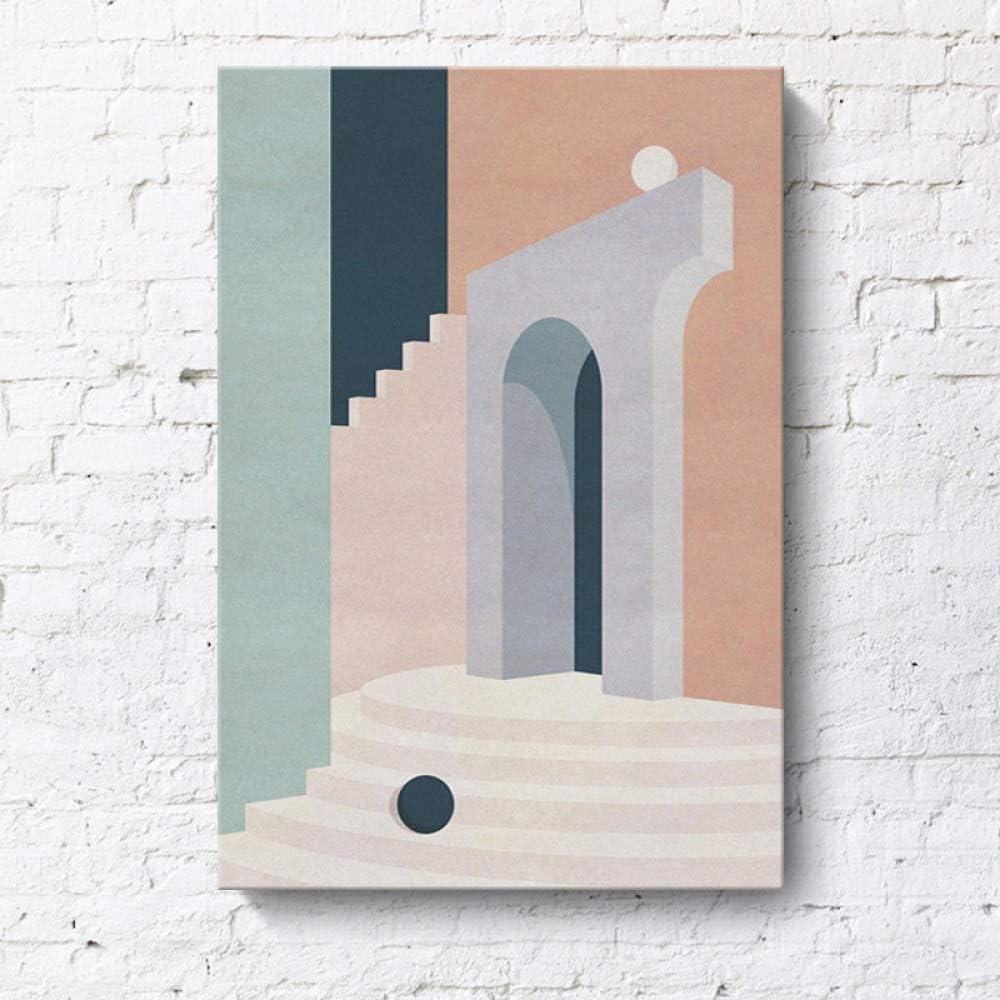 RTCKF Pintura Decorativa Minimalista Moderna geométrica arquitectónica Creativa Paisaje Hotel apartamento Morandi Color Pintura sin Marco N2 40cmx60cm