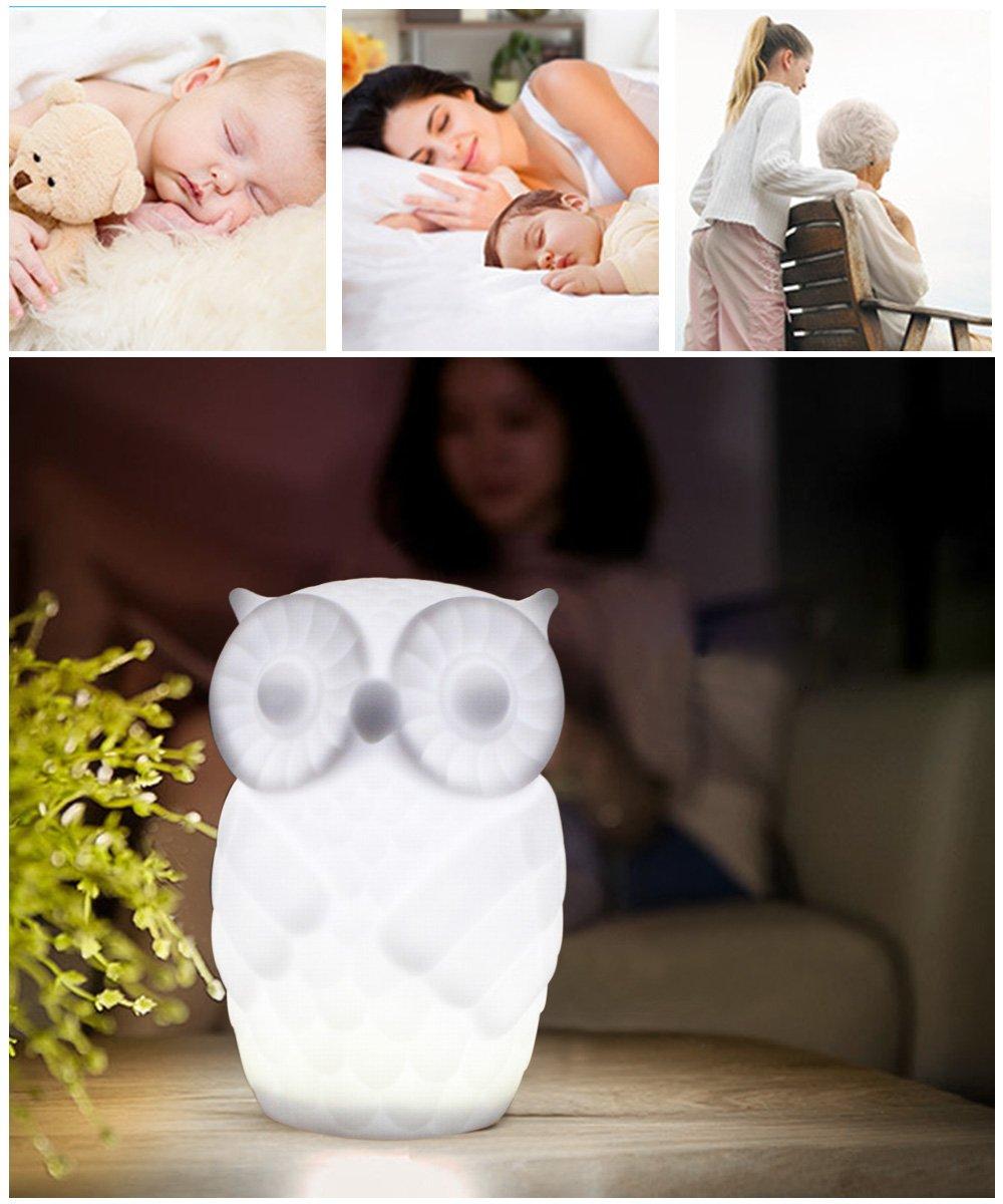 Lovingvs Owl Night Light, Cool White Battery Powered Porcelain Timer LED Table Lamp Desk lamp for Bedroom Decorative by Lovingvs (Image #7)