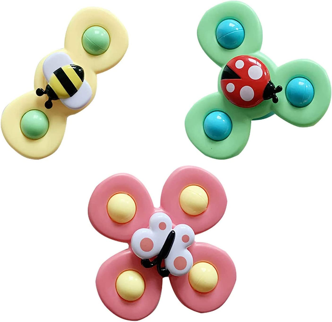 Baby Child Spinning Top Toy, Spin Sucker Suction Cup Animal Bath Toys Turntable Spinning Windmill Stress Relief Frisbee Toy Table Sucker Early Learner (3Pcs-Bee Ladybug Butterfly)