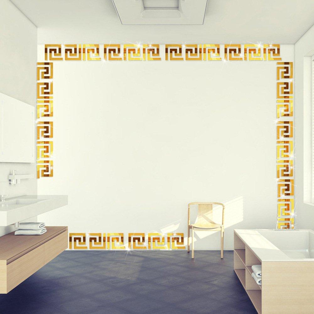 ITTA X-Large 20pcs 20x20cm DIY 3D Acrylic Maze Pattern Border Ceiling Stickers Mirror Effect Wall Decor Home Art Mural Wedding Room Hotel Decal (Gold 3)