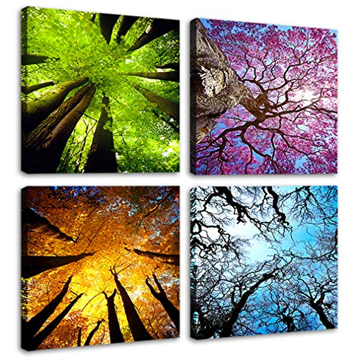 Moco Art 4 Panels Canvas Wall Art Spring Summer Autumn Winter Four Seasons Landscape Color Tree Painting Picture Prints Modern Giclee Artwork Stretched and Framed for Living Room Home Decoration - Print Artwork Art