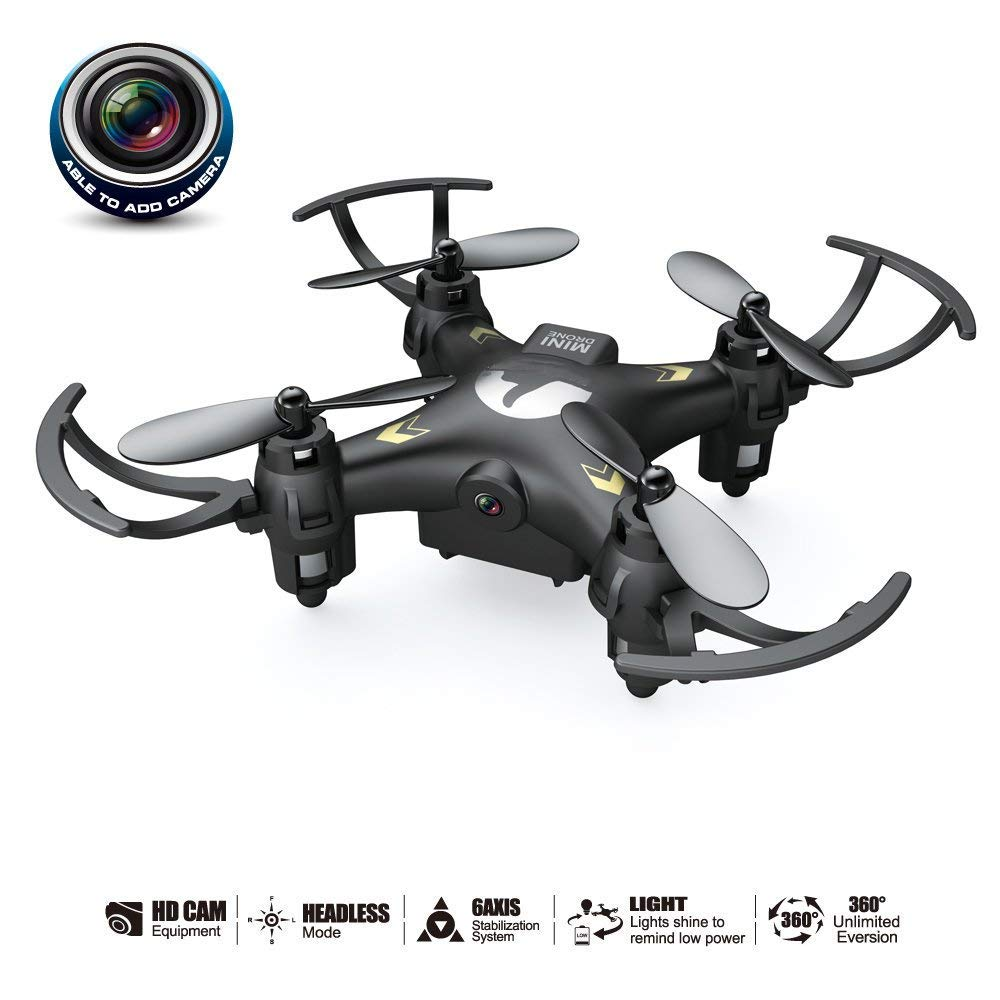Black Remote Control Drone And Camera With 0.3MP Camera Mini Quadcopter 2.4G 4CH 6axis Gyroscope Headless Mode, 360° Roll for Beginners
