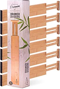 Drawer Dividers Bamboo Kitchen Organizers Set of 6 - Spring Loaded Drawer Divider Adjustable & Expandable Drawer Organizer - Best for Kitchen, Bedroom, Dresser & Closet, 11.6-17.1 in