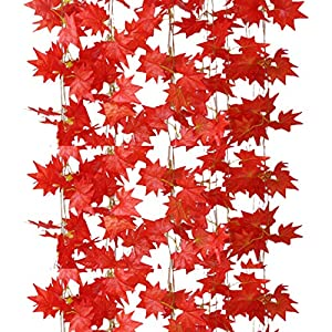 Anlise 12 Pack Artificial Silk Maple Leaf Garland Artificial Fall Foliage Garland Hanging Plant Thanksgiving Decor for Home Wedding Party Christmas 7