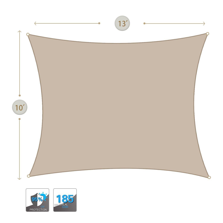 10X13 Sun Shade Sails Canopy Rectangle Sand 185GSM UR Block for Patio Garden Outdoor Activities