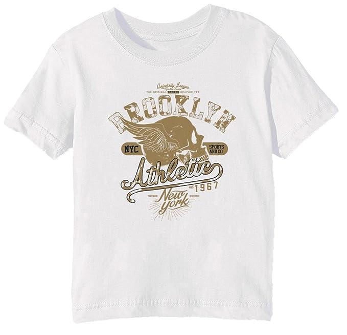96ddf4927377b Erido Brooklyn Athletic Niños Unisexo Niño Niña Camiseta Cuello Redondo  Blanco Manga Corta Todos Los Tamaños Kids Unisex Boys Girls T-Shirt White  All Sizes  ...