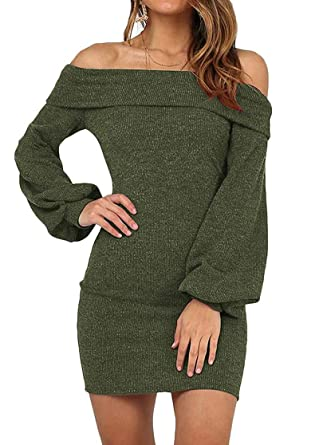 9cd0492b719 KAY SINN Womens Off Shoulder Bodycon Knit Sweater Dress with Long Puff  Sleeve Small Army Green