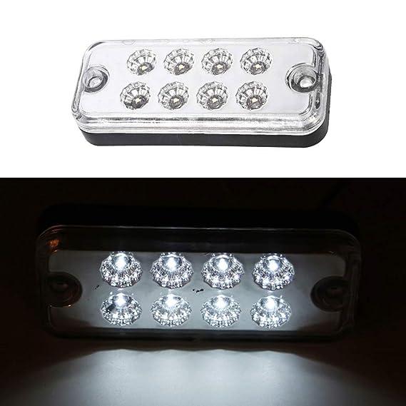 Ishua 6Pcs 12V 8 LED Luce di segnalazione a LED Luce del rimorchio per camion Indicatori di direzione laterali Lampade