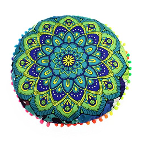 Seat Covers Poly Cotton Charcoal (Fheaven Bohemian Round Home Decorative Throw Pillow Case Cushion Cover 17
