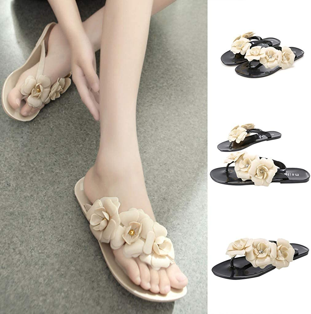 World Womens Beach Flip Flops with Flower Ornament My Heat Women Comfy Platform Sandal Shoes,Flat Slippers with Floral