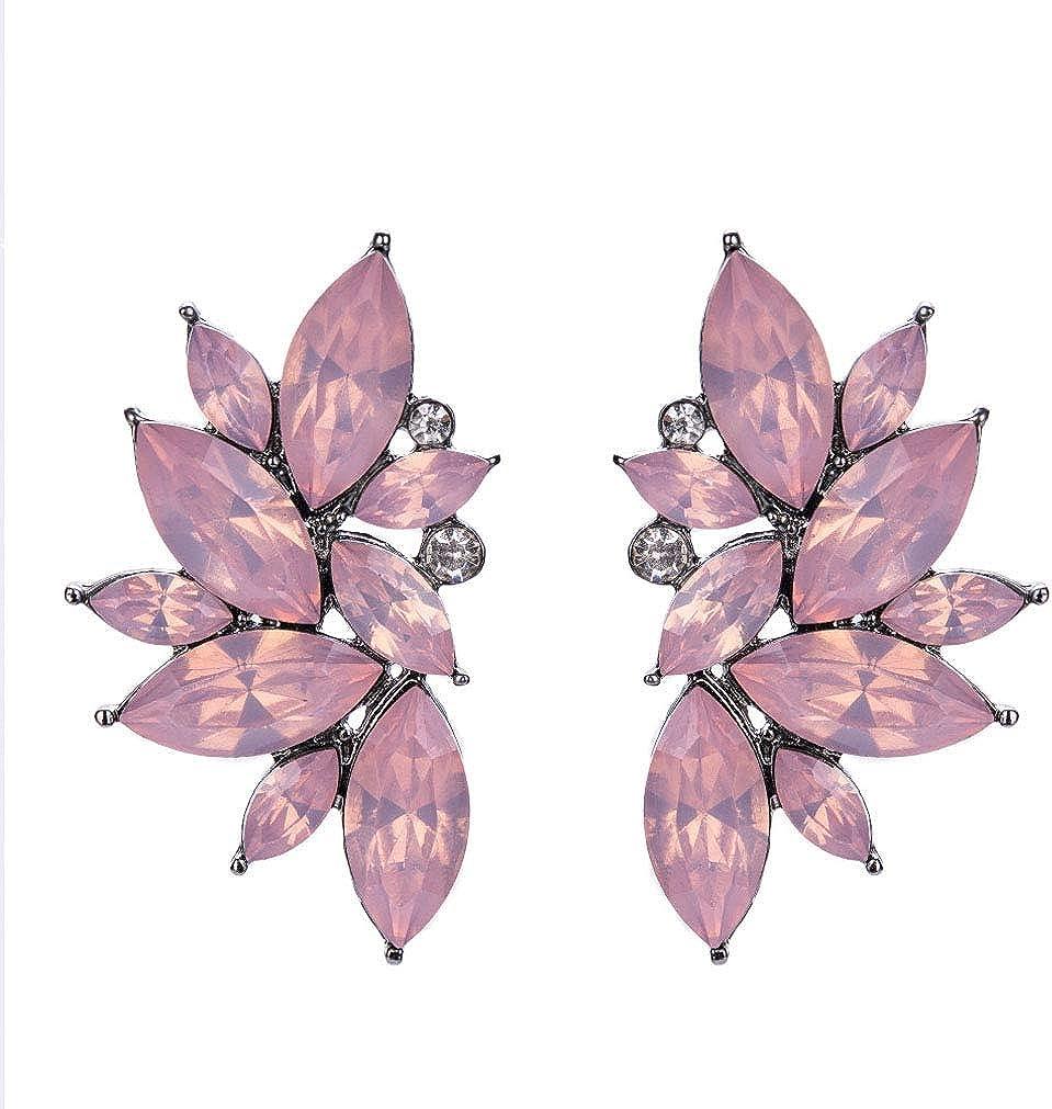 QiXuan Mujer Bohemio 14K Pendientes de lágrima de flores plateadas con plata Embutido relleno Zirconia cúbica Pendientes de botón