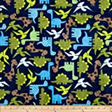 Shannon Minky Cuddle Urban Zoologie Dinosaurs Midnight Fabric By The Yard