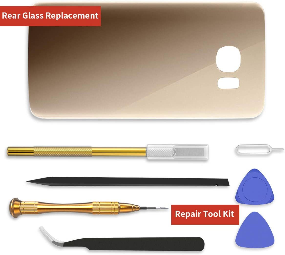 24-Month Warranty YONTEX Galaxy S7 Edge Gold 3600mAh 0 Cycle Battery Replacement for Samsung Galaxy S7e Battery with Back Glass Replacement and Complete Repair Tool Kit