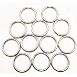 """12 Pack 2"""" Welded O-Ring Nickel Plate Steel Rings Multi-Purpose Metal O Ring for Macrame, Camping Belt, Dog Leashes…"""