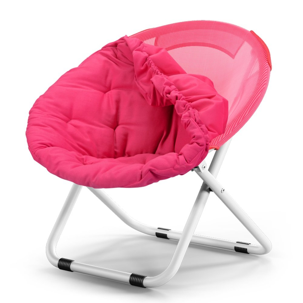 Washable folding chair / adult moon chair / sun chair / lazy chair / sun lounger / folding chair / round chair / sofa chair / solid color Home folding chair / lazy couch / ( Color : Rose red )