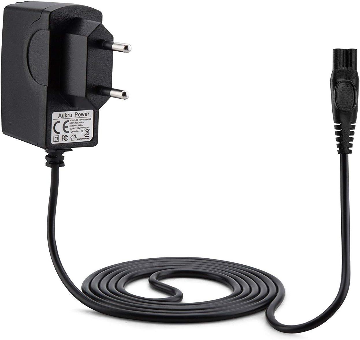 Aukru Cargador de Fuente de alimentación 15v para Philips afeitadora eléctrica RQ1050, RQ1060, RQ1051, RQ1075, RQ1085, RQ1095, RQ1090, 1050X, 1050CC, 1059X, 1060X, 1090X