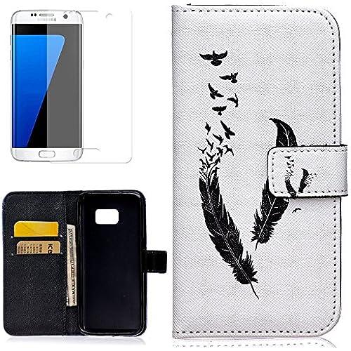 Galaxy S7 Case,S7 Case,Samsung Galaxy S7 Case,Uncle.Y [Wallet Case] Folio PU Leather Case Wallet Stand Case for Samsung Galaxy S7 (Black Feather) Sales