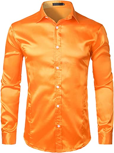 Camisa de satén de Seda para Hombre, Manga Larga, con Botones, Color Rojo - Naranja - X-Large: Amazon.es: Ropa y accesorios