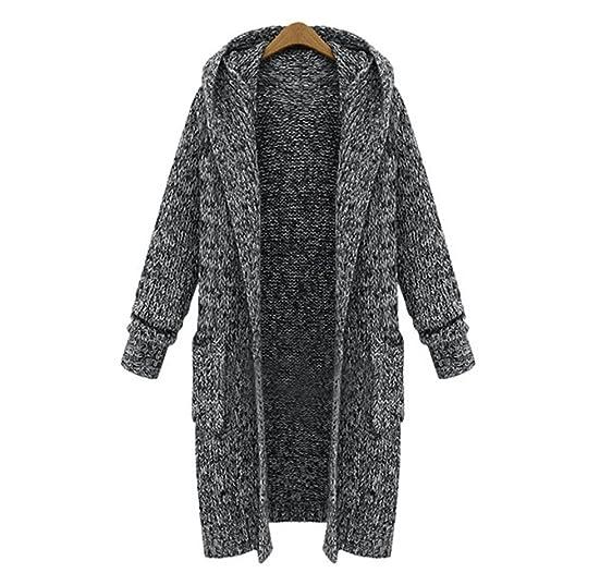 JIANLANPTT Women's Fashion Long Hooded Cardigan Sweater Coat with ...