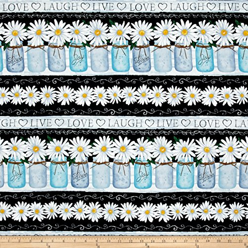 Timeless Treasures Live Love Laugh Daisy Stripe Black Fabric By The (Quilting Stripe)
