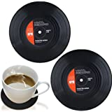 Vinyl Record Coasters 2 Pack, Retro Novelty Style Coaster For Drinks
