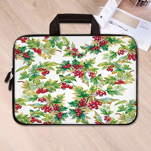 - Rowan Anti Seismic Neoprene Laptop Bag,Watercolor Style Branches with Rowan Berries Winter Christmas Concept for Travel Office School,15.4''L x 11''W x 0.8''H