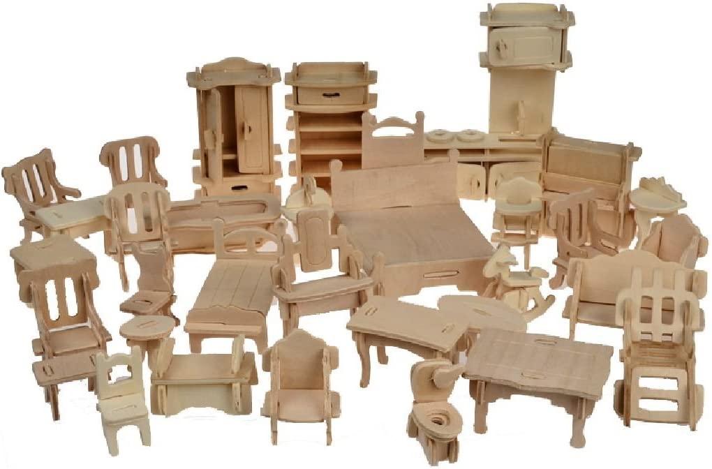 Crystalbella Toy 1SET=34PCS Wooden Doll House Dollhouse Furnitures DIY Accessories Set
