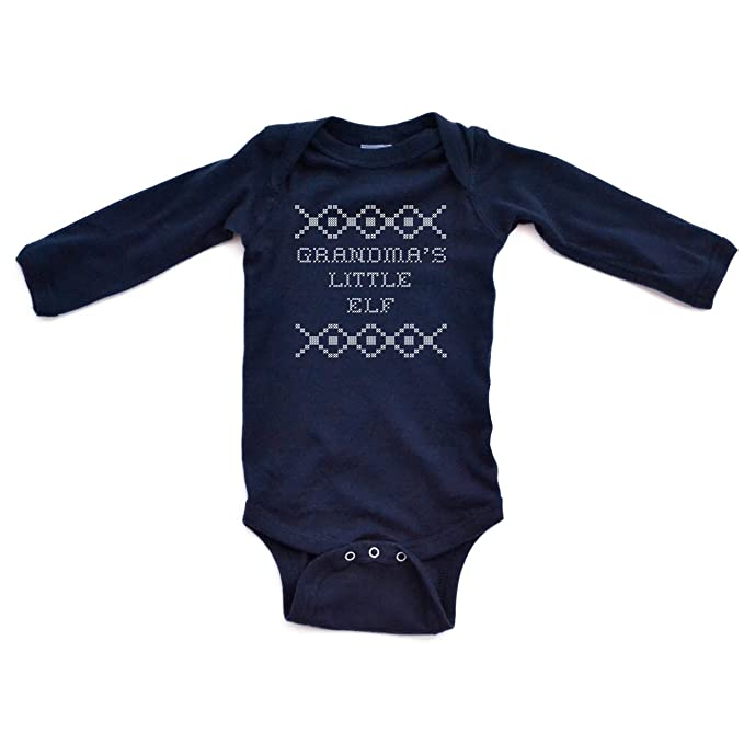 """642eea1a6 Apericots """"Grandma's Little Elf"""" Cross Stitch Holiday Sweater Inspired  Funny Cute Christmas Xmas Baby Long Sleeve Soft Cotton Bodysuit"""