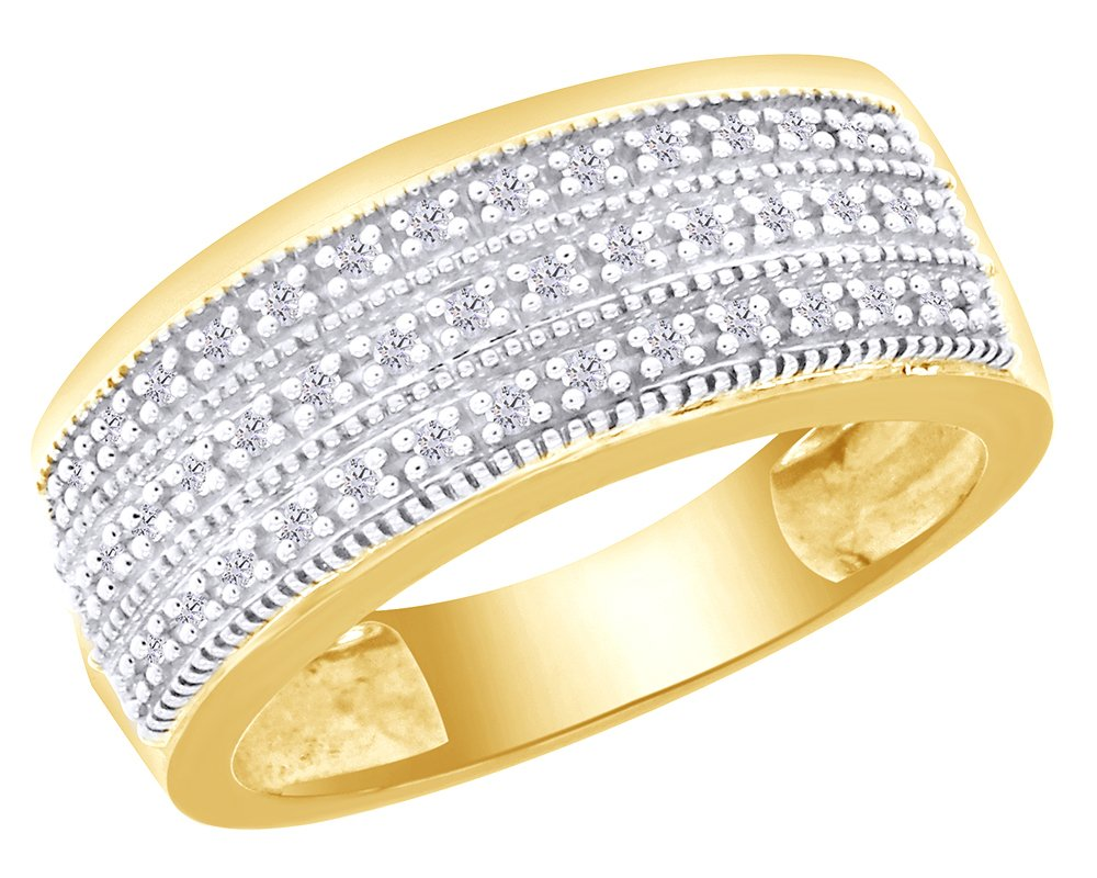 Round Cut White Natural Diamond Three Row Band Ring In 14K Yellow Gold Over Sterling Silver (0.14 Ct)